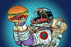 Το τέρας αστροναυτών τρώει burger Πλεονεξία και πείνα του conce ανθρωπότητας διανυσματική απεικόνιση