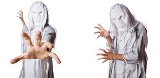 Το τέρας στο λευκό στη τρομακτική έννοια αποκριών στοκ φωτογραφία με δικαίωμα ελεύθερης χρήσης