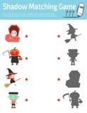 Το ταιριάζοντας με παιχνίδι σκιών για τα παιδιά, συνδέει την εικόνα σημείων, διανυσματική απεικόνιση εκπαίδευσης Στοκ Εικόνες