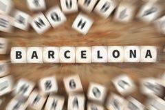 Το ταξίδι πόλεων κωμοπόλεων της Βαρκελώνης που ταξιδεύει χωρίζει σε τετράγωνα την επιχειρησιακή έννοια Στοκ φωτογραφία με δικαίωμα ελεύθερης χρήσης