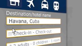 Αναζήτηση ξενοδοχείων στην Αβάνα σε κάποια περιοχή κράτησης Το ταξίδι στην Κούβα αφορούσε την τρισδιάστατη απόδοση ελεύθερη απεικόνιση δικαιώματος