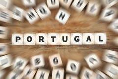 Το ταξίδι χωρών της Πορτογαλίας που ταξιδεύει χωρίζει σε τετράγωνα την επιχειρησιακή έννοια Στοκ Εικόνα