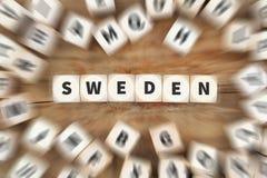 Το ταξίδι χωρών της Σουηδίας που ταξιδεύει χωρίζει σε τετράγωνα την επιχειρησιακή έννοια Στοκ εικόνες με δικαίωμα ελεύθερης χρήσης