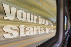 Το ταξίδι σας statrs εδώ στοκ φωτογραφία