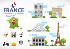Το ταξίδι της Γαλλίας ονειρεύεται τον προορισμό, σύμβολα ταξιδιού της Γαλλίας, σύμβολα της Γαλλίας, ορόσημο Στοκ εικόνες με δικαίωμα ελεύθερης χρήσης