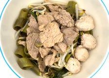 Το ταϊλανδικό ύφος μαγείρεψε σε κατσαρόλα την τεμαχισμένη ξηρά σούπα χοιρινού κρέατος και κεφτών χοιρινού κρέατος Στοκ φωτογραφία με δικαίωμα ελεύθερης χρήσης