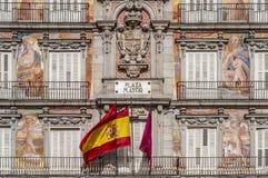 Το τετράγωνο δημάρχου Plaza στη Μαδρίτη, Ισπανία. Στοκ Εικόνες