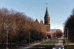 Το τετραγωνικό πάρκο σμιλεύει τους μολύβδους στον καθεδρικό ναό Konigsberg σε Kaliningrad Στοκ εικόνες με δικαίωμα ελεύθερης χρήσης