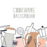 Το τετραγωνικό σκηνικό διακόσμησε με το διάφορο σκεύος για την κουζίνα ή cookware, τα εργαλεία κουζινών και τα εργαλεία για την π διανυσματική απεικόνιση