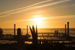 Το τελευταίο φως του ήλιου χτυπά την παραλία, κηλίδα ηλίου Aglou, Μαρόκο Στοκ Εικόνα