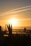 Το τελευταίο φως του ήλιου χτυπά την παραλία, κηλίδα ηλίου Aglou, Μαρόκο Στοκ εικόνες με δικαίωμα ελεύθερης χρήσης