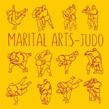 Το τζούντο θέτει τον αθλητισμό πολεμικών τεχνών απεικόνιση αποθεμάτων
