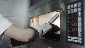 Το τηγάνι των μπισκότων στο φούρνο πασπαλίζει σε αργή κίνηση με ψίχουλα φιλμ μικρού μήκους