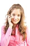 το τηλέφωνο κοριτσιών μιλ Στοκ Εικόνα