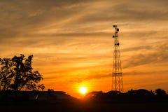 Το τηλεφωνικό semaphor στο ηλιοβασίλεμα Στοκ Εικόνα