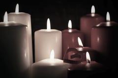 Το τονισμένο κερί μορφής καρδιών αγάπης Στοκ Φωτογραφίες
