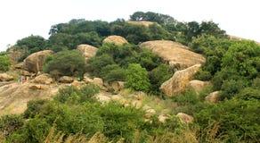 Το τοπίο λόφων του sittanavasal ναού σπηλιών σύνθετου στοκ φωτογραφία