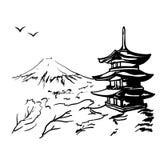 Το τοπίο με το Φούτζι τοποθετεί, δέντρο sakura και απεικόνιση παγοδών της Ιαπωνίας Στοκ φωτογραφίες με δικαίωμα ελεύθερης χρήσης