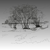Το τοπίο στο ύφος του χεριού σύρει Στοκ φωτογραφία με δικαίωμα ελεύθερης χρήσης