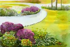 Το τοπίο του πάρκου πόλεων με τους χορτοτάπητες και το περπάτημα λουλουδιών ελεύθερη απεικόνιση δικαιώματος