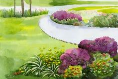 Το τοπίο του πάρκου πόλεων με τους χορτοτάπητες λουλουδιών και το ελαφρύ κτύπημα περπατήματος απεικόνιση αποθεμάτων