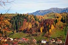Το τοπίο φθινοπώρου βουνών με το ζωηρόχρωμο δάσος Στοκ εικόνες με δικαίωμα ελεύθερης χρήσης