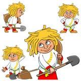Το του χωριού αγόρι χαρακτήρα κινουμένων σχεδίων σε διάφορο θέτει με ένα φτυάρι και μια τσάντα Στοκ Φωτογραφία