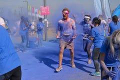 Το τρέξιμο χρώματος, Λονδίνο Docklands, το Σεπτέμβριο του 2014 Στοκ Φωτογραφία