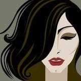 το τρίχωμα μακρύ κάνει το πορτρέτο επάνω στη γυναίκα Στοκ Εικόνες