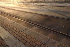 Το τραίνο ακολουθεί και σκιάζει τις γραμμές στο φως ξημερωμάτων Στοκ Εικόνες