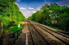Το τραίνο ακολουθεί την προοπτική Στοκ Εικόνες