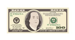 Το τραπεζογραμμάτιο 100 δολαρίων, τιμολογεί εκατό δολάρια, αμερικανικός Πρόεδρος Benjamin Franklin διανυσματική απεικόνιση