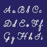 το τρισδιάστατο αλφάβητο και η πηγή θέτουν με τα χειρόγραφα γράμματα α, β, γ, δ, ε, φ, γ, χ, ι Σύγχρονος φουτουριστικός χαρακτήρα διανυσματική απεικόνιση