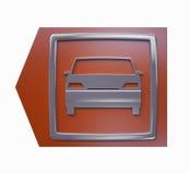 το τρισδιάστατο αυτοκίνητο βελών απομόνωσε το πρότυπο κόκκινο σημάδι χώρων στάθμευσης Στοκ Εικόνα