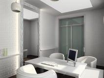 το τρισδιάστατο εσωτερικό σύγχρονο γραφείο δίνει Στοκ Εικόνες