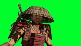 Το τρισδιάστατο πρότυπο πολεμιστών Σαμουράι δίνει στοκ φωτογραφία με δικαίωμα ελεύθερης χρήσης