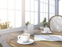 το τρισδιάστατο δίνοντας βάθος του καφέ τομέων έθεσε με την εφημερίδα στο φωτεινό άσπρο δωμάτιο με το έντονο φως ήλιων κοντά στον Στοκ φωτογραφία με δικαίωμα ελεύθερης χρήσης