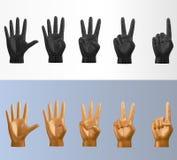 το τρισδιάστατο διανυσματικό polygonal μετρώντας χέρι θέτει το σύνολο στο διάφορο ύφος Στοκ Εικόνες