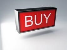 το τρισδιάστατο κόκκινο αγοράζει το κουμπί Στοκ Εικόνες