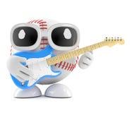 το τρισδιάστατο μπέιζ-μπώλ παίζει την ηλεκτρική κιθάρα Στοκ φωτογραφία με δικαίωμα ελεύθερης χρήσης
