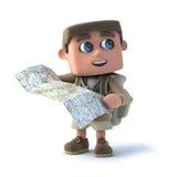 το τρισδιάστατο παιδί εξερευνητών διαβάζει έναν χάρτη Στοκ Φωτογραφία