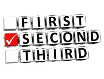 το τρισδιάστατο πρώτο δεύτερο τρίτο κουμπί χτυπά εδώ το κείμενο φραγμών Στοκ φωτογραφίες με δικαίωμα ελεύθερης χρήσης