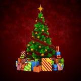 το τρισδιάστατο χριστουγεννιάτικο δέντρο με τις ζωηρόχρωμες διακοσμήσεις και παρουσιάζει Στοκ Εικόνες