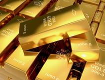 το τρισδιάστατο χρυσό HQ ράβδων δίνει εξαιρετικά Στοκ εικόνες με δικαίωμα ελεύθερης χρήσης