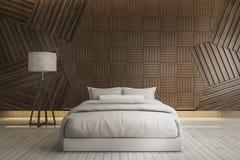 το τρισδιάστατο όμορφο άσπρο καθαρό κρεβάτι απόδοσης με το λαμπτήρα και τον ξύλινο τοίχο παραδείγματος χάριν της σύνθεσης επίπλων Στοκ Φωτογραφία