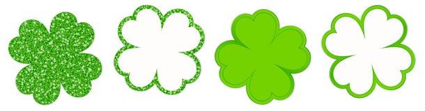 Το τριφύλλι τέσσερα βγάζει φύλλα το σπινθήρισμα και να λάμψει πράσινο ελεύθερη απεικόνιση δικαιώματος