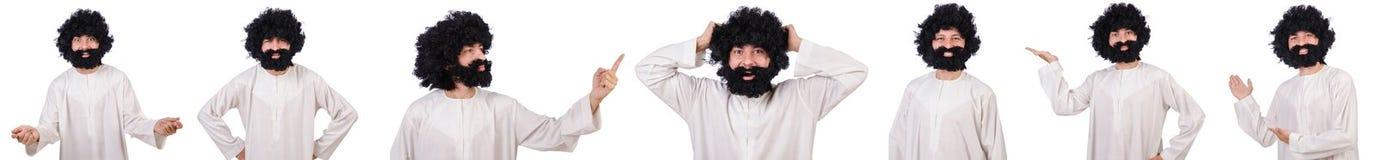 Το τριχωτό αστείο άτομο που απομονώνεται στο λευκό Στοκ φωτογραφία με δικαίωμα ελεύθερης χρήσης