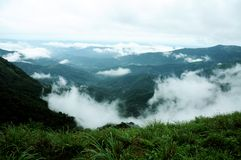 Το τροπικό δάσος υψηλών βουνών με τα σύννεφα που περνούν στην Ινδία Στοκ φωτογραφία με δικαίωμα ελεύθερης χρήσης