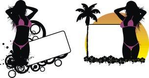 Το τροπικό κορίτσι σκιών της Χαβάης μαύρο copyspace έθεσε απεικόνιση αποθεμάτων