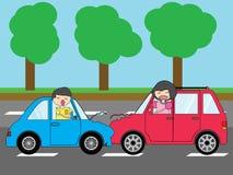 Το τροχαίο ατύχημα, με δύο αυτοκίνητα μπροστινά συγκρούεται χτύπημα ελεύθερη απεικόνιση δικαιώματος